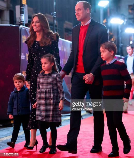 Britain's Prince William, Duke of Cambridge, his wife Britain's Catherine, Duchess of Cambridge, and their children Britain's Prince George of...