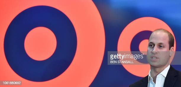Britain's Prince William Duke of Cambridge makes a speech during a visit BBC Broadcasting House in London on November 15 2018 to view the work the...