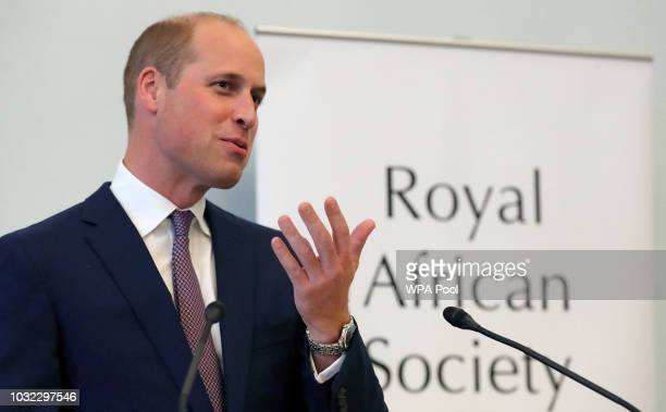Britain's Prince William Duke of Cambridge Patron of the Royal African Society speaks at a reception at the British Academy on September 12 2018 in...