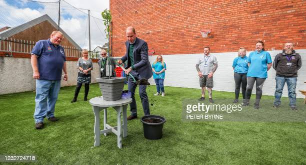 Britain's Prince William, Duke of Cambridge plants a tree in a pot during his visit to Brighter Futures, a consortium of eight local groups which...