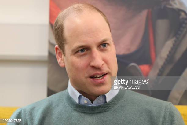 Britain's Prince William, Duke of Cambridge, talks with campaigners, teachers parents of young people who've been supported and coaches during a...