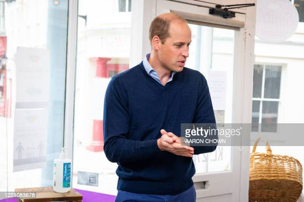 Britain's Prince William Duke of Cambridge visits Smiths the Bakers in the High Street in King's Lynn eastern England on on June 19 2020 The Duke...