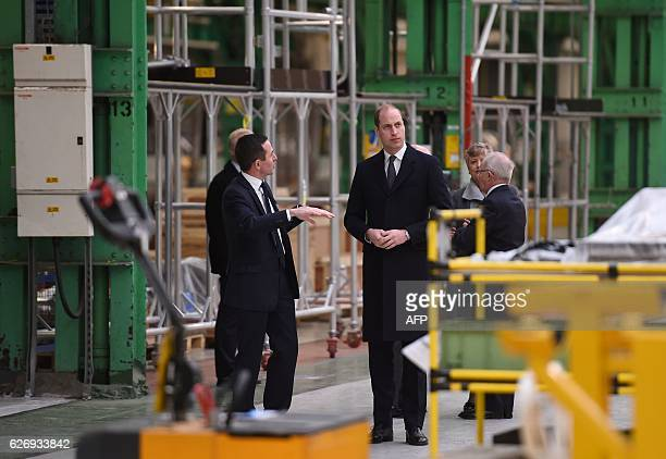 Britain's Prince William Duke of Cambridge visits the Bombardier manufacturing plant in Derby which is making the crossrail trains for the new London...