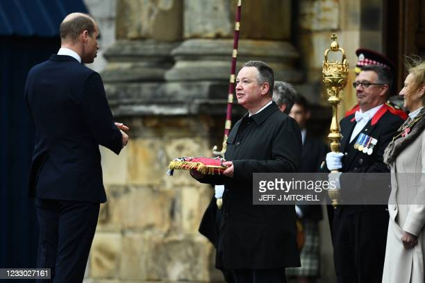 Britain's Prince William, Duke of Cambridge was formally welcomed as Lord High Commissioner in the Ceremony of the Keys on the forecourt of the...