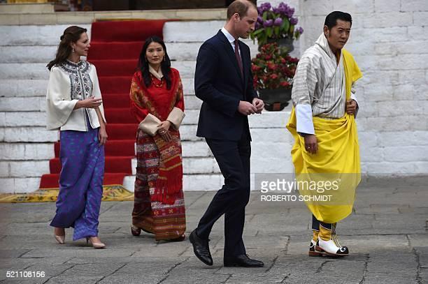 Britain's Prince William Duke of Cambridgeand his wife Catherine Duchess of Cambridgewalk with King Jigme Khesar Namgyel Wangchuckand Queen Jetsun...