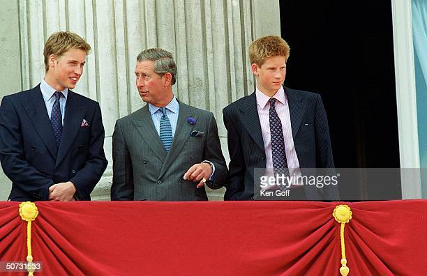 Britain's Prince William father Prince Charles and brother Prince Harry celebrating the Queen Mother's 100th birthday at Buckingham Palace