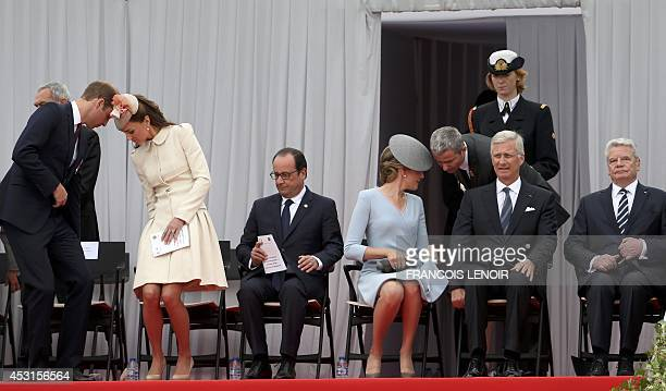 Britain's Prince William his wife Catherine French President Francois Hollande Queen Mathilde of Belgium her husband King Philippe and German...