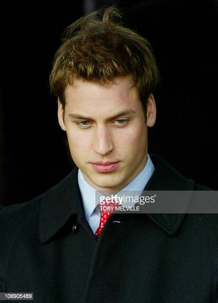 Britain's Prince William leaves St Mary Magdalene church after attending Christmas Day service on the Sandringham estate Norfolk 25 December 2003 AFP...