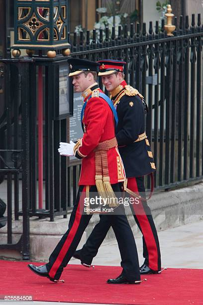 Britain's Prince William left and his best man Britain's Prince Harry arrive at Westminster Abbey at the Royal Wedding in London