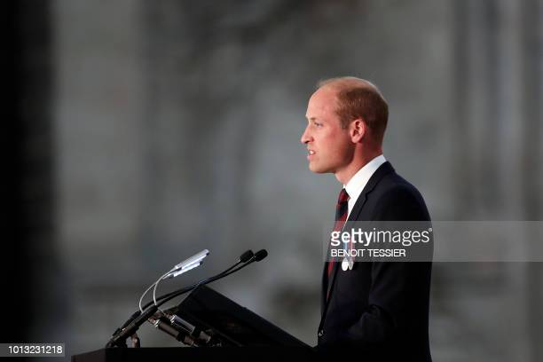 Britain's Prince William the Duke of Cambridge delivers a speech at a religious ceremony to mark the 100th anniversary of the World War I Battle of...