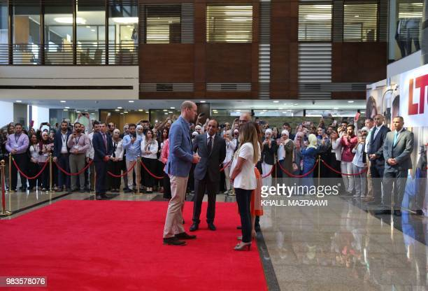 Britain's Prince William visits the Luminus Technical University College in Amman on June 25 2018 William arrived in Jordan at the start of a Middle...