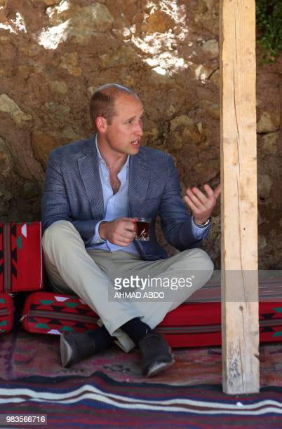 Britain's Prince William visits the Princess Taghrid Institute for Development and Training in the province of Ajloun north of the Jordanian capital...