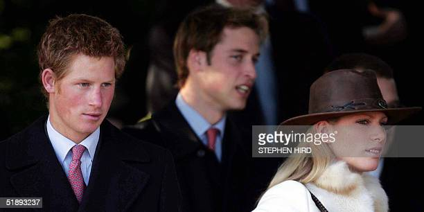 Britain's Princes Harry and William and Zara Phillips arrive at St Mary Magdalene's church for the Royal Family's Christmas Day service on the...