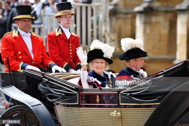 Britain's Princess Alexandra and Britain's Prince Edward Duke of Kent arrive to attend the Most Noble Order of the Garter Ceremony at St George's...