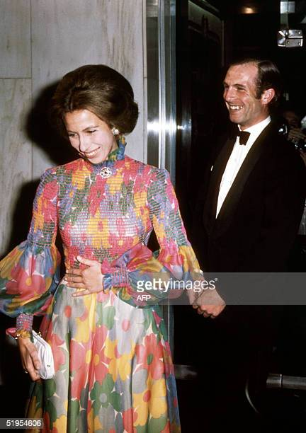 "Britain's Princess Anne and her fiance Captain Mark Phillips, attend the London premiere of the film ""Jesus Christ Superstar"" 24 August 1973, shortly..."