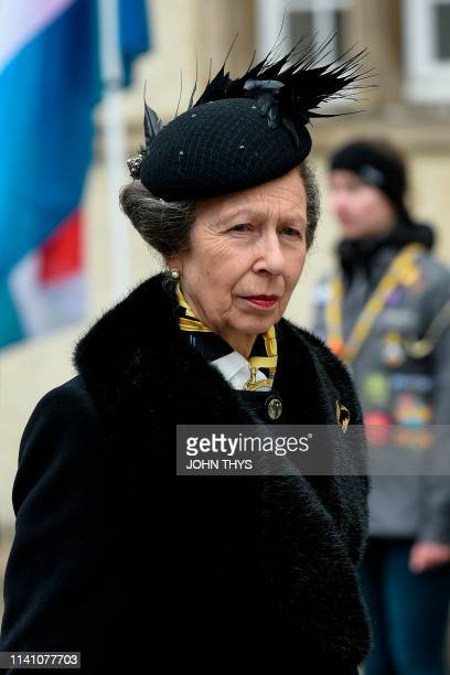 Britain's Princess Anne arrives for the funeral ceremony of Jean d'Aviano, Grand Duke of Luxembourg, on May 4 in Luxembourg City. - The Grand Duke of...
