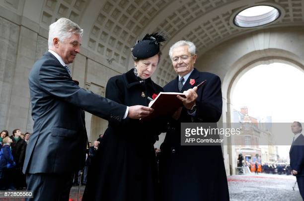 Britain's Princess Anne attends the Last Post ceremony at the Commonwealth War Graves Commission of the Ypres Memorial at the Menenpoort in Ieper...