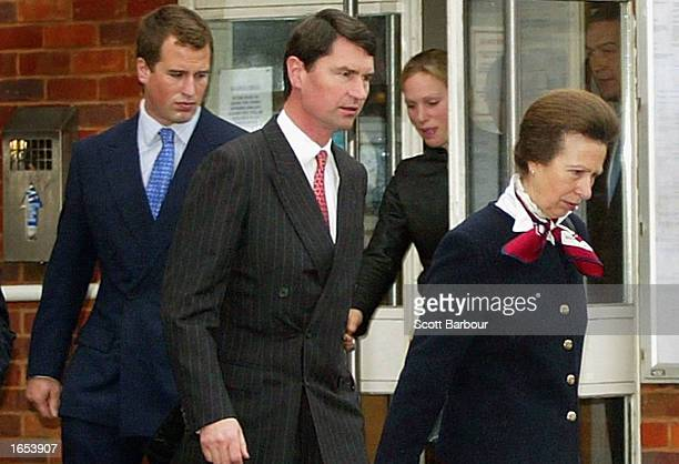 Britain's Princess Anne , her daughter Zoe Phillips , her husband Timothy Lawrence and her son Peter Phillips leave Slough Magistrates Court November...