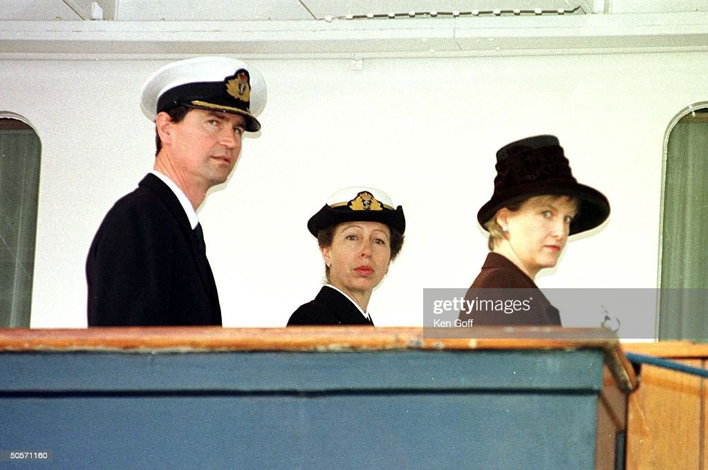 Britain's Princess Anne in the uniform of Rear Admiral, boarding Royal Yacht Britannia w. (L) husband Captain Timothy Laurence and (R) Sophie Rhys-Jones to attend decommissioning ceremony of the yacht.