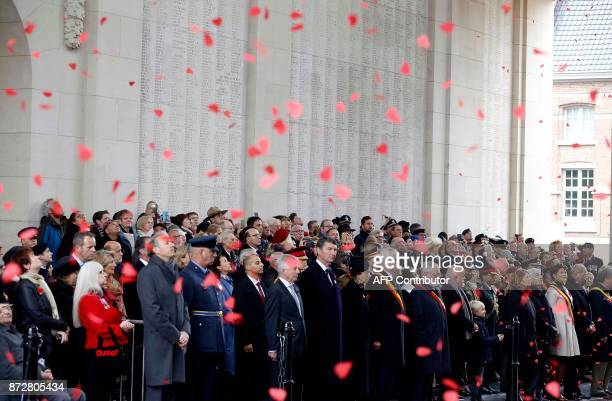 Britain's Princess Anne pays a tribute during the Last Post ceremony at the Commonwealth War Graves Commission of the Ypres Memorial at the...