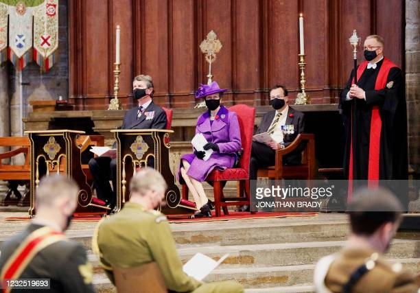 Britain's Princess Anne, Princess Royal, and Vice Admiral Timothy Laurence attend a service of commemoration and thanksgiving to mark Anzac Day in...