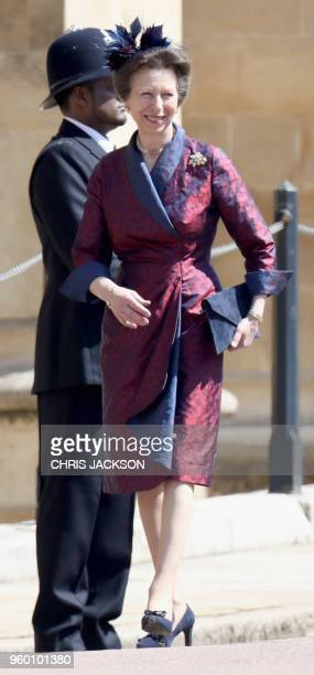 Britain's Princess Anne Princess Royal arrives for the wedding ceremony of Britain's Prince Harry Duke of Sussex and US actress Meghan Markle at St...