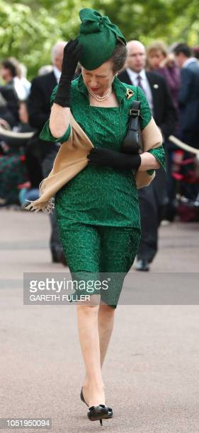 Britain's Princess Anne Princess Royal arrives to attend the wedding of Britain's Princess Eugenie of York to Jack Brooksbank at St George's Chapel...