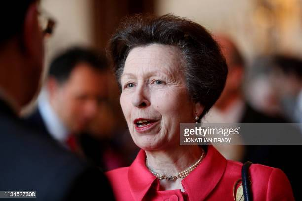 Britain's Princess Anne Princess Royal attends a reception to mark the 100th Anniversary of the National Council for Voluntary Organisations at...