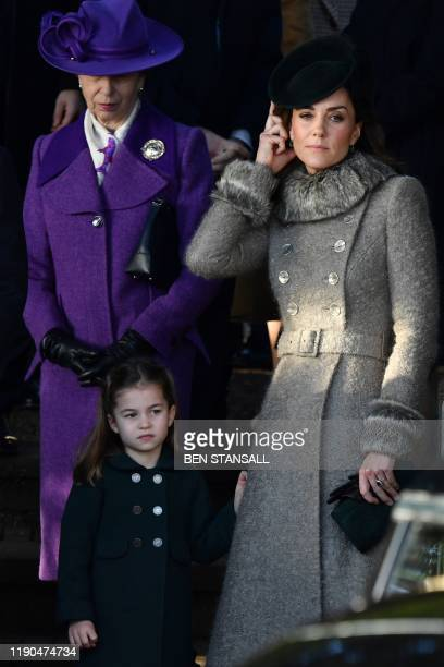 Britain's Princess Anne Princess Royal Britain's Catherine Duchess of Cambridge and Britain's Princess Charlotte of Cambridge greet wellwishers as...