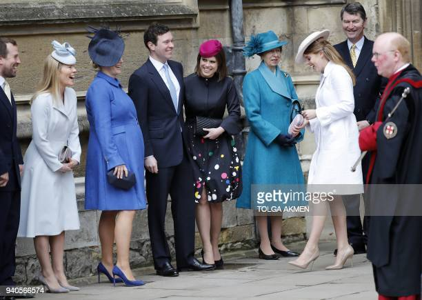Britain's Princess Anne Princess Royal Britain's Princess Eugenie of York and members of the Royal family arrive for the Easter Mattins Service at St...