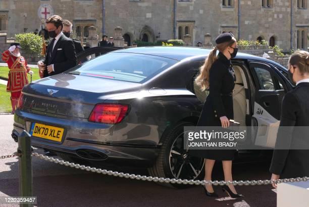 Britain's Princess Beatrice and Edoardo Mapelli Mozzi arrive for funeral service of Britain's Prince Philip, Duke of Edinburgh at St George's Chapel...