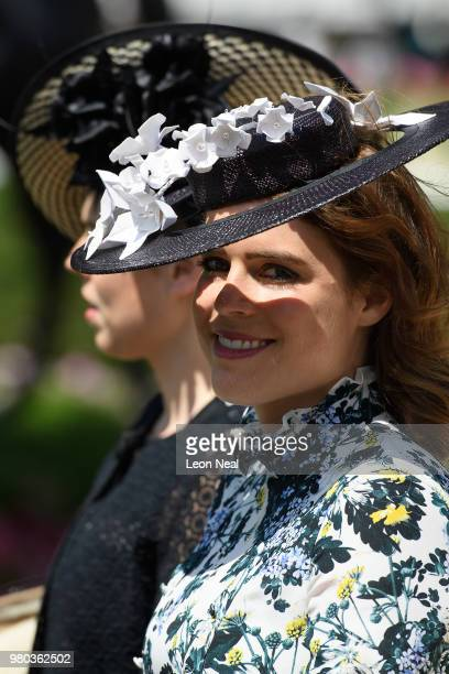 Britain's Princess Beatrice and Princess Eugenie take part in the Royal Parade during Royal Ascot Day 3 at Ascot Racecourse on June 21 2018 in Ascot...