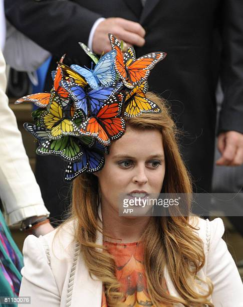 Britain's Princess Beatrice attends the wedding of Peter Phillips 30, to Autumn Kelly 31, at St George's Chapel in Windsor on May 17, 2008. The bride...
