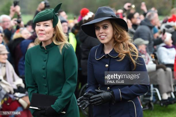 Britain's Princess Beatrice of York arrives for the Royal Family's traditional Christmas Day service at St Mary Magdalene Church in Sandringham...