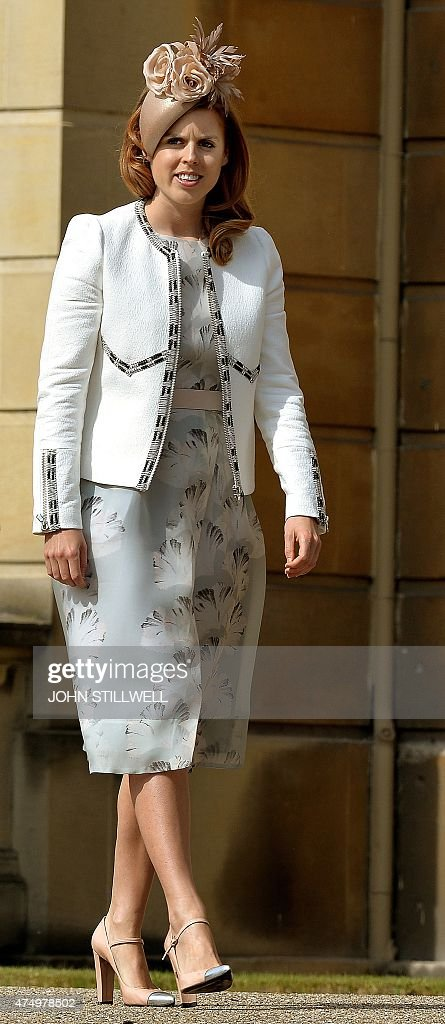 Britain's Princess Beatrice of York attends a garden party at Buckingham Palace, central London on May 28, 2015.