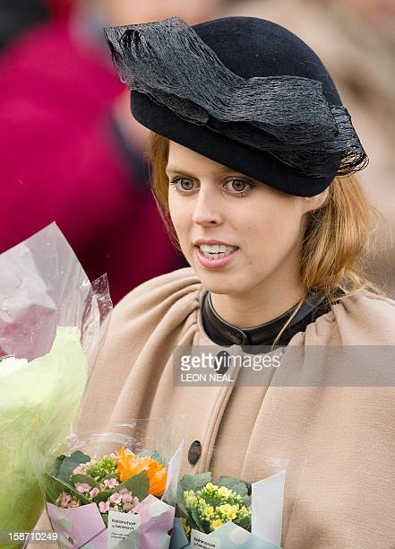 Britain's Princess Beatrice of York leaves following the Royal family Christmas Day church service at St Mary Magdalene Church in Sandringham,...