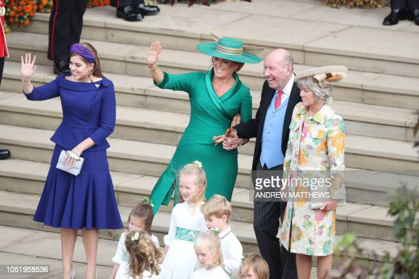 Britain's Princess Beatrice of York Sarah Duchess of York and parents of the groom Nicola and George Brooksbank wave off the married couple after...