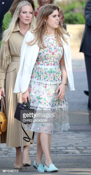 Britain's Princess Beatrice of York visits the 2018 Chelsea Flower Show in London on May 21 2018 The Chelsea flower show held annually in the grounds...
