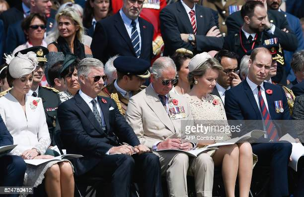 Britain's Princess Catherine, Duchess of Cambridge, King Philippe of Belgium, Britain's Prince Charles, Queen Mathilde of Belgium and Britain's...