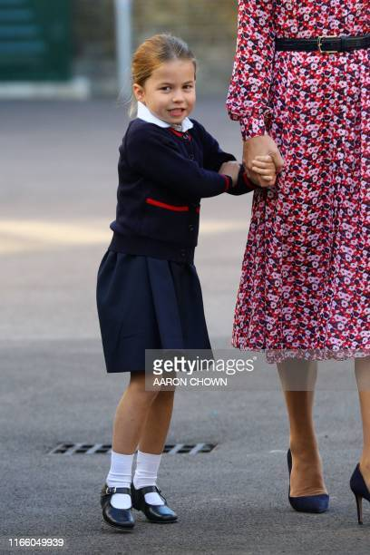 Britain's Princess Charlotte of Cambridge arrives for her first day of school at Thomas's Battersea in London on September 5, 2019.