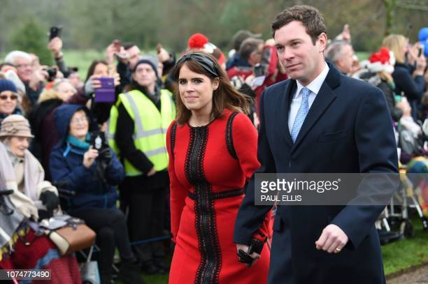 Britain's Princess Eugenie of York and her husband Jack Brooksbank arrive for the Royal Family's traditional Christmas Day service at St Mary...