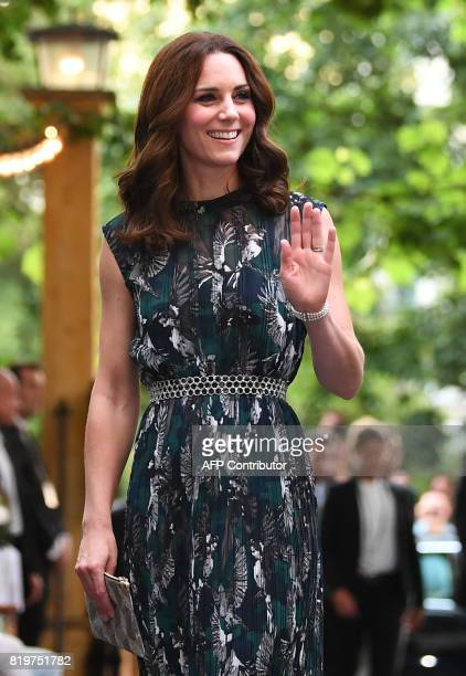 Britain's Princess Kate the Duchess of Cambridge arrives for a reception at 'Claerchens Ballhaus' dance hall in Berlin on the second day of the...