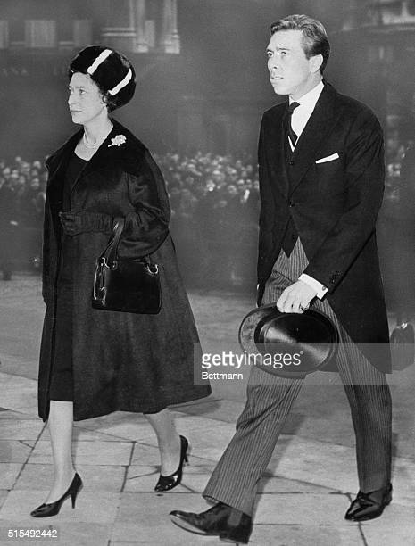 Britain's Princess Margaret and her husband Lord Snowdon arrive at St. Paul's Cathedral for a special afternoon memorial service for the late...