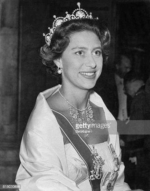 Britain's Princess Margaret smiles as she arrives at the Guild Hall in London July 27th to attend a dinner celebrating the bicentennial of the Battle...