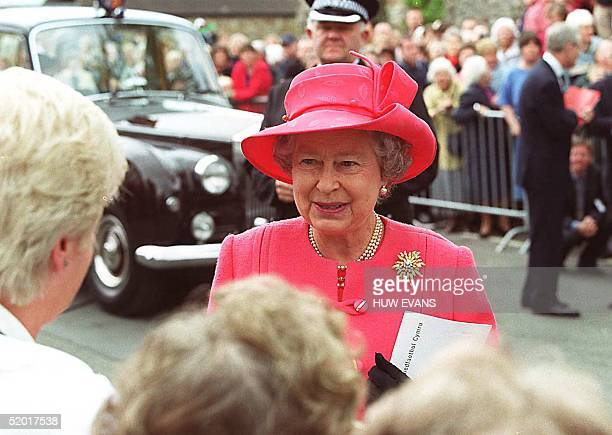 Britain's Queen Elizabeth 11 arrives at Llandaff Cathedral 26 May 1999 She will later attend the official opening ceremony of the National Assembly...