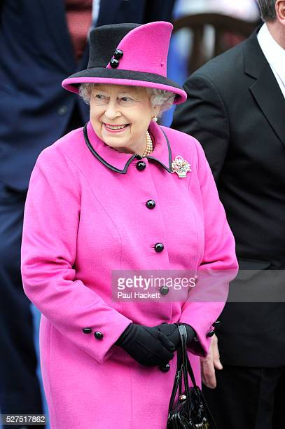 Britain's Queen Elizabeth during a visit to Leicester UK Flagwaving crowds of Britons lined the streets as the monarch launched a nationwide tour of...