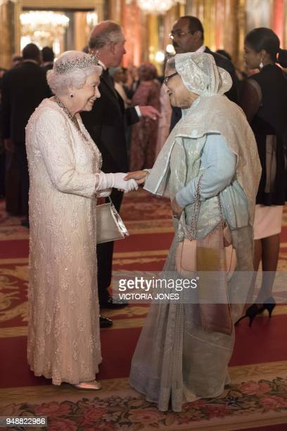 Britain's Queen Elizabeth greets Prime Minister of Bangladesh Sheikh Hasina before The Queen's Dinner during The Commonwealth Heads of Government...