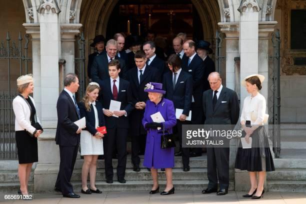 Britain's Queen Elizabeth II along with Serena ArmstrongJones Countess of Snowdon David ArmstrongJones 2nd Earl of Snowdon known as David Linley Lady...