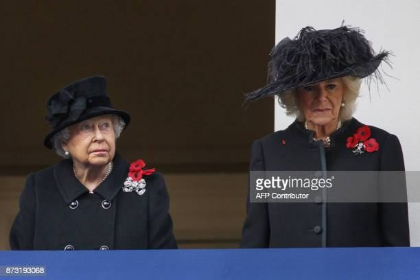 Britain's Queen Elizabeth II and Britain's Camilla Duchess of Cornwall attend the Remembrance Sunday ceremony at the Cenotaph on Whitehall in central...