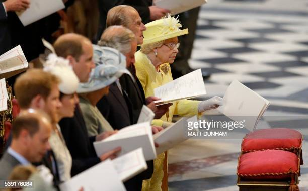 Britain's Queen Elizabeth II and Britain's Prince Philip, Duke of Edinburgh attend a national service of thanksgiving for the Queen's 90th birthday...
